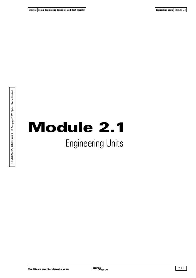 The Steam and Condensate Loop 2.1.1 Block 2 Steam Engineering Principles and Heat Transfer Engineering Units Module 2.1 Mo...