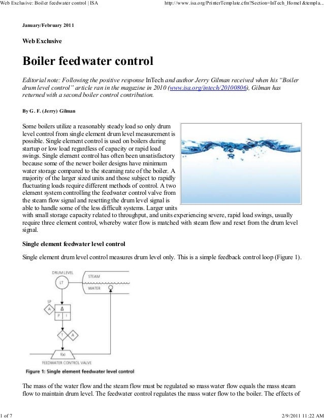 January/February 2011 Web Exclusive Boiler feedwater control Editorial note: Following the positive response InTech and au...