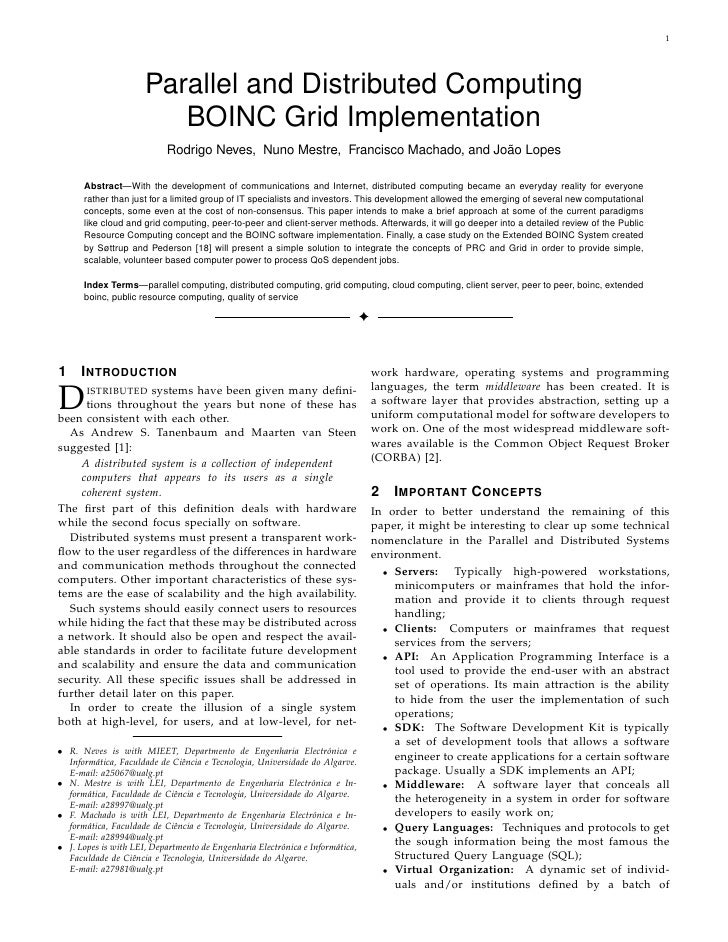 1                           Parallel and Distributed Computing                          BOINC Grid Implementation         ...