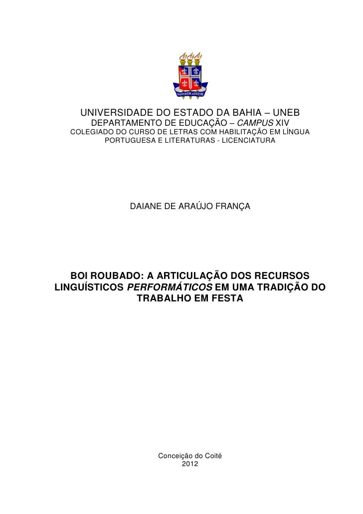 UNIVERSIDADE DO ESTADO DA BAHIA – UNEB      DEPARTAMENTO DE EDUCAÇÃO – CAMPUS XIV  COLEGIADO DO CURSO DE LETRAS COM HABILI...
