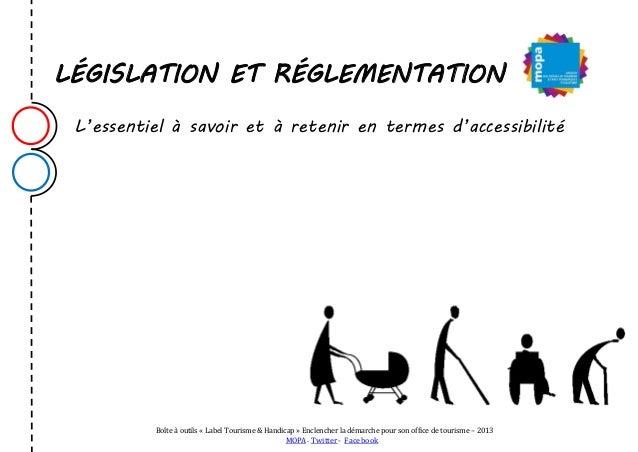 """MOPA BOITE A OUTILS """"Accessibilité, tourisme et handicap"""" : législation et réglementation"""