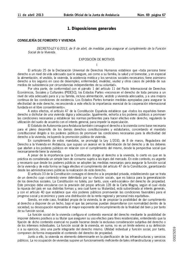 Decreto-Ley 6/2013, de 9 de abril, de medidas para asegurar el cumplimiento de la Función Social de la Vivienda (Andalucía)