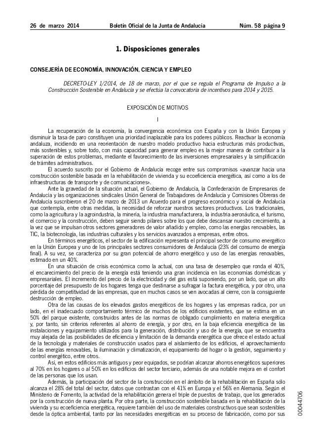 Programa de Impulso a la Construcción Sostenible y Convocatoria de Incentivos para 2014 y 2015