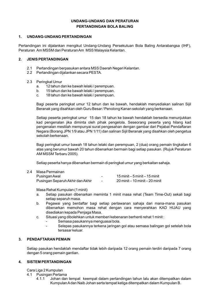 Contoh Peraturan Kejohanan Bola Baling