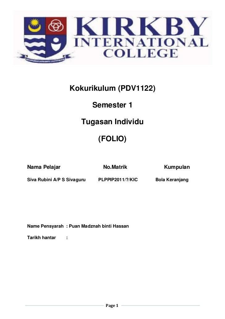 Kokurikulum (PDV1122)                             Semester 1                        Tugasan Individu                      ...