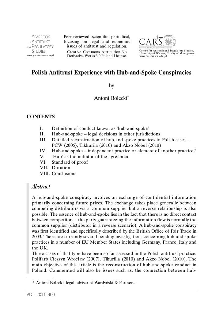 Polish Antitrust Experience with Hub-and-Spoke Conspiracies
