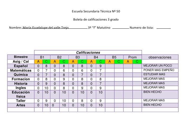 Escuela Secundaria Técnica Nº 50<br />Boleta de calificaciones 3 grado<br />Nombre: María Guadalupe del valle Trejo       ...