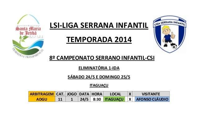 LSI-LIGA SERRANA INFANTIL TEMPORADA 2014 ELIMINATÓRIA 1-IDA SÁBADO 24/5 E DOMINGO 25/5 ITAGUAÇU ARBITRAGEM CAT. JOGO DATA ...