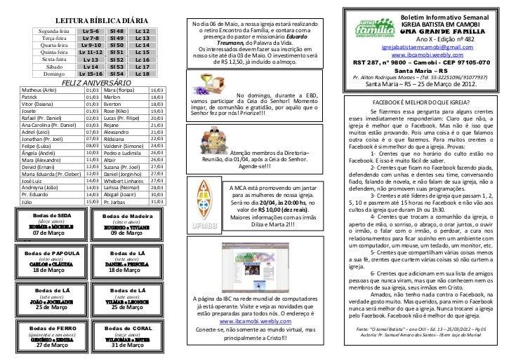 Boletim Informativo Semanal              LEITURA BÍBLICA DIÁRIA                                 No dia 06 de Maio, a nossa...