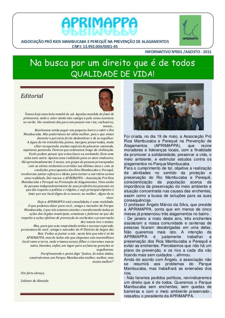 ASSOCIAÇÃO PRÓ RIOS MAMBUCABA E PEREQUÊ NA PREVENÇÃO DE ALAGAMENTOS                       CNPJ: 13.992.004/0001-45        ...