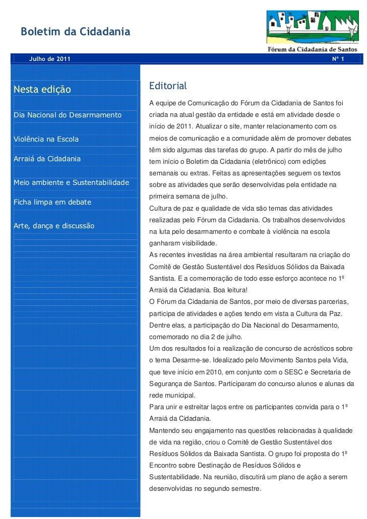 Boletim da Cidadania    Julho de 2011                                                                                Nº 1N...