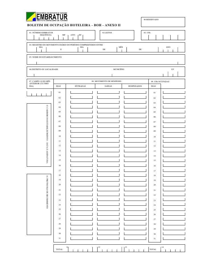00.RESERVADOBOLETIM DE OCUPAÇÃO HOTELEIRA – BOH – ANEXO II 01. NÚMERO EMBRATUR                                            ...