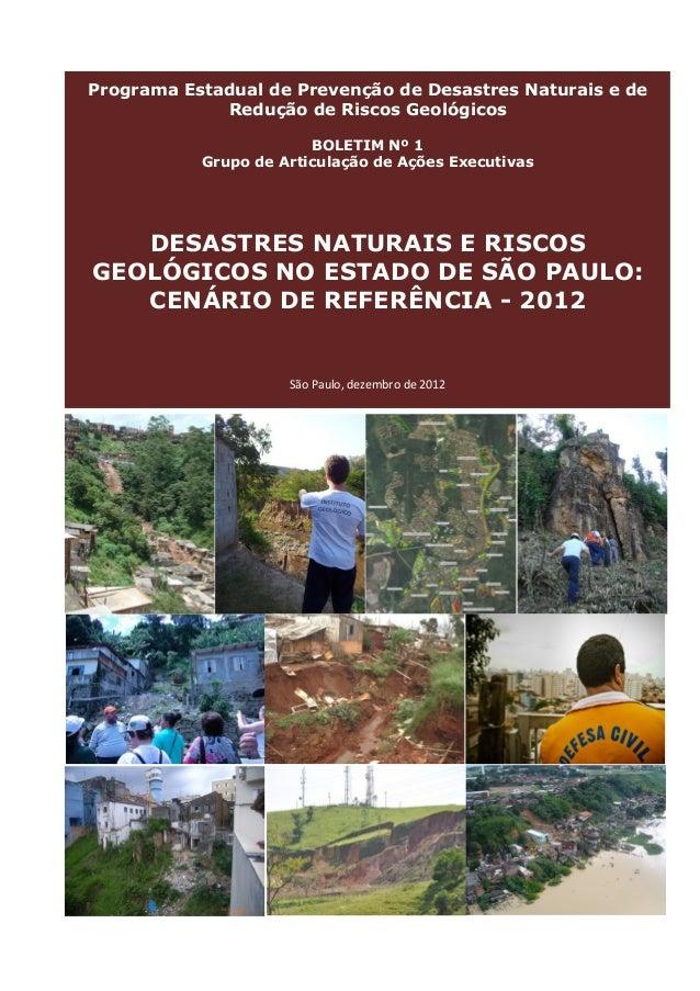 Desastres naturais e riscos geológicos no Estado de São Paulo: Cenário de referência – 2012.