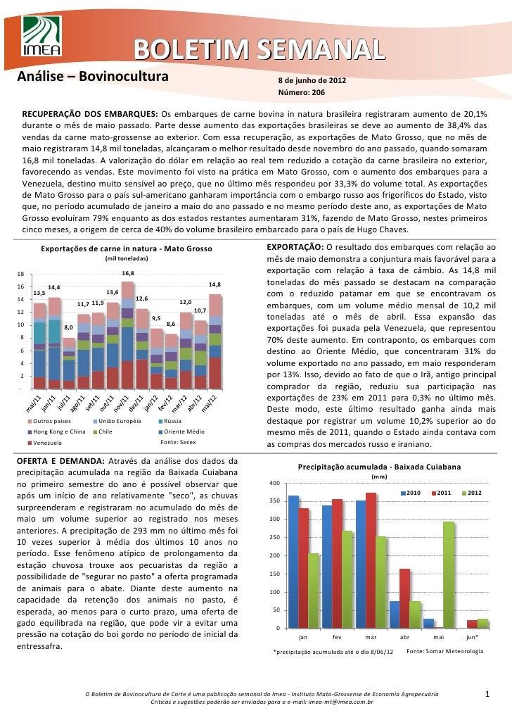 BOLETIM SEMANALAnálise – Bovinocultura                                                                       8 de junho de...