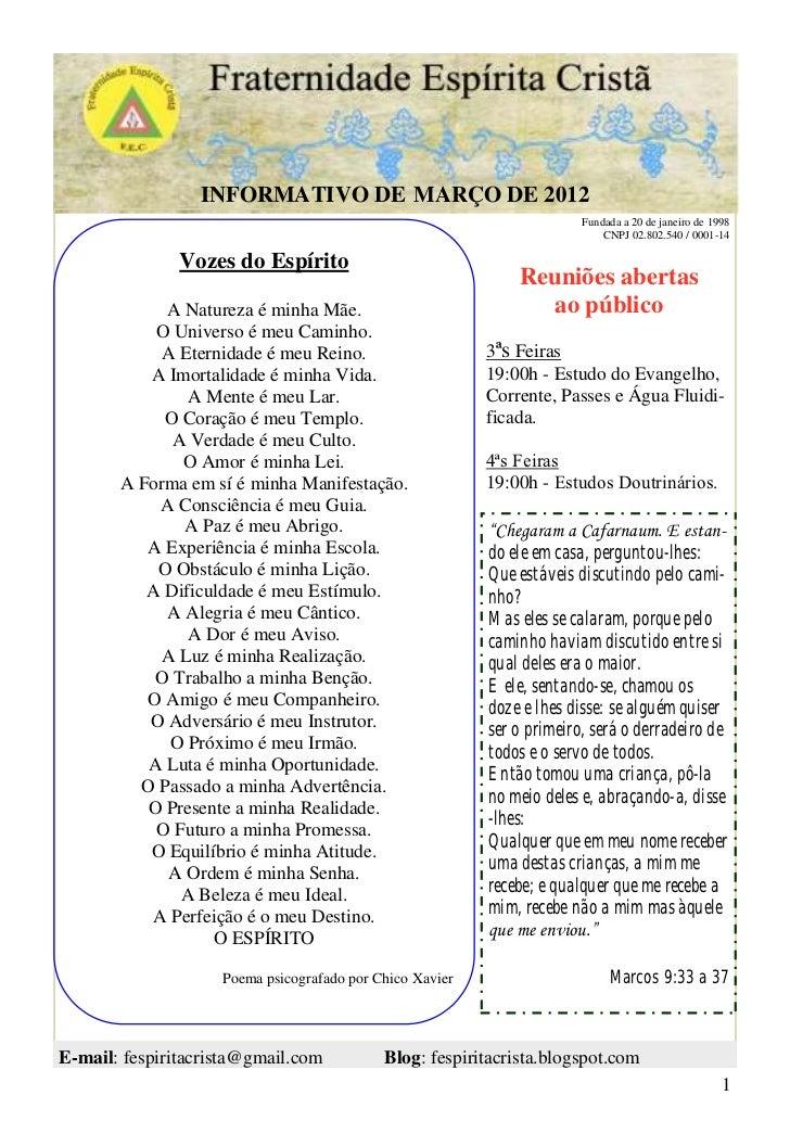 INFORMATIVO DE MARÇO DE 2012                                                                        Fundada a 20 de janeir...