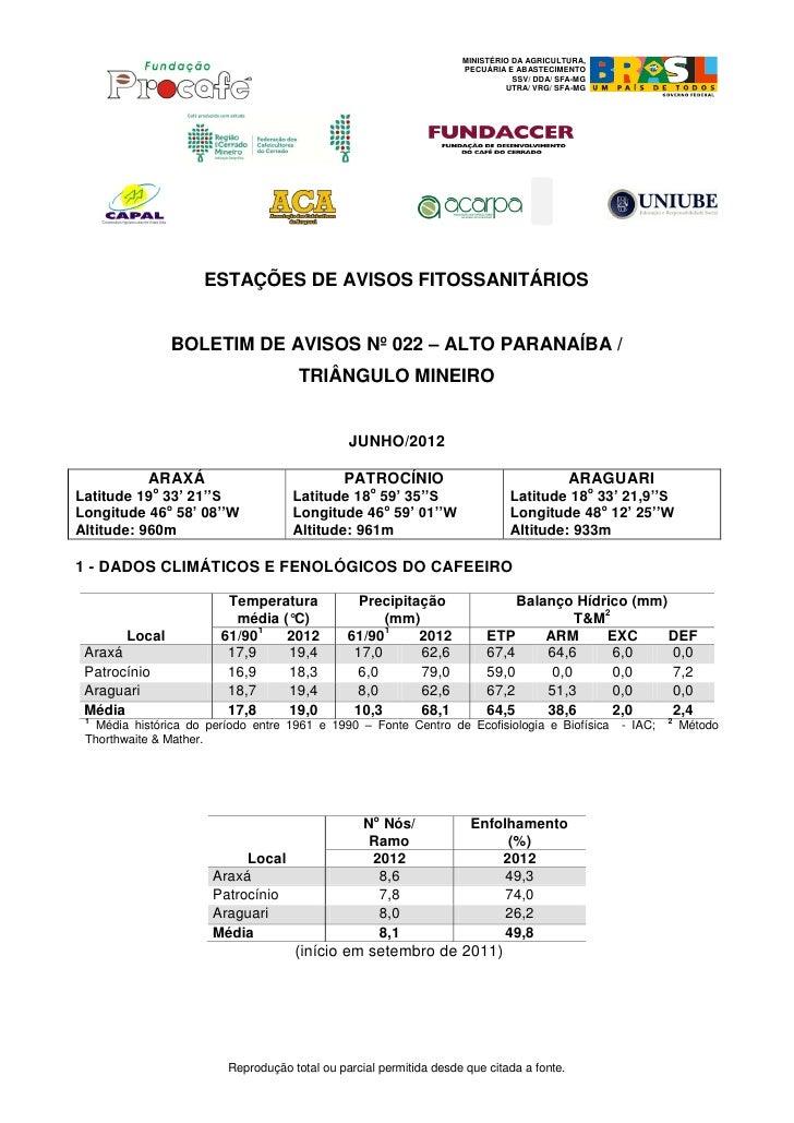 Procafé Aviso fitossanitário - jul12 - Cerrado