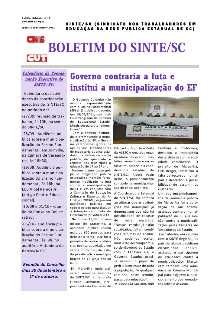 Boletim eletrônico nº 12www.sinte-sc.org.br                              SINTE/SC (SINDICATO DOS TRABALHADORES EMFpolis 30...