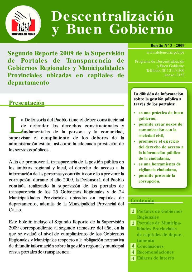 Segundo Reporte de Portales de Transparencia de los Gobierno Regionales y Locales 2009 (RESUMEN)