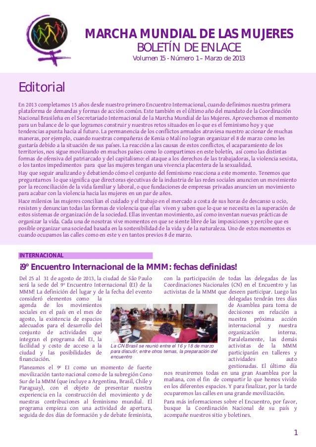 MARCHA MUNDIAL DE LAS MUJERES                                                   BOLETÍN DE ENLACE                         ...