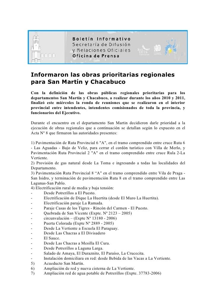 Informaron las obras prioritarias regionales para San Martín y Chacabuco Con la definición de las obras públicas regionale...