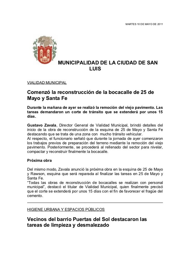 MARTES 10 DE MAYO DE 2011                  MUNICIPALIDAD DE LA CIUDAD DE SAN                            LUISVIALIDAD MUNIC...