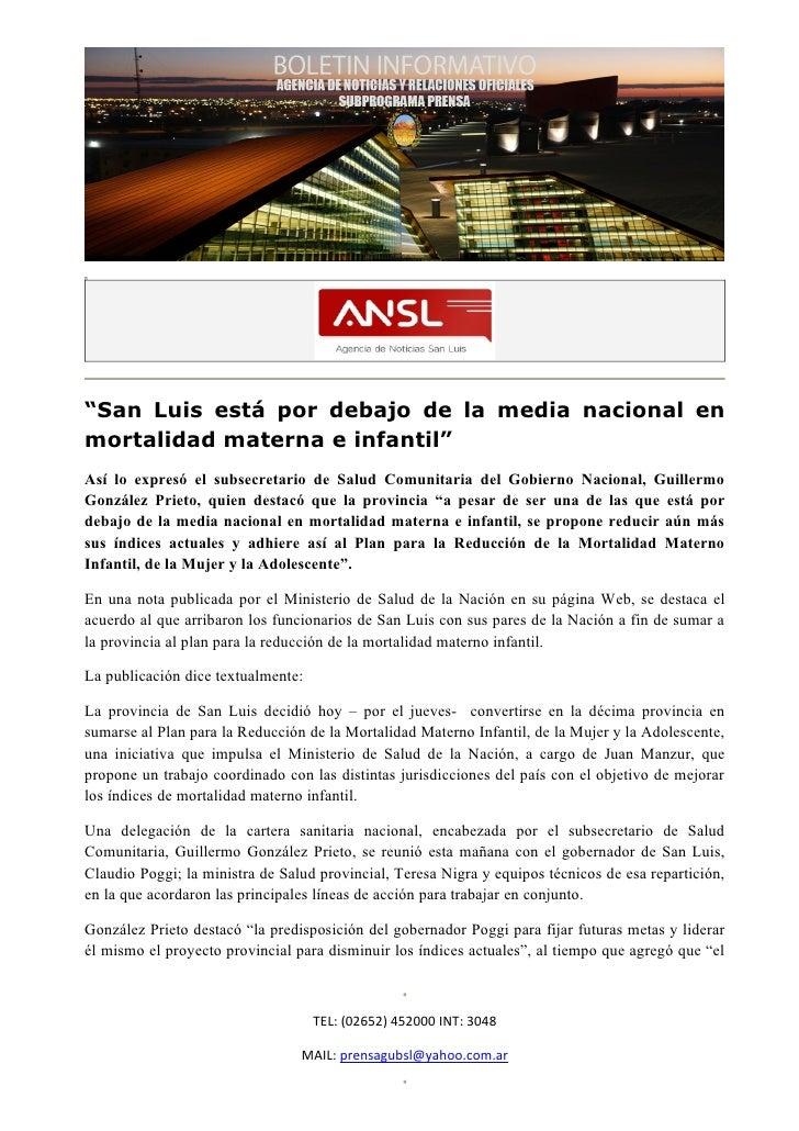 """""""San Luis está por debajo de la media nacional enmortalidad materna e infantil""""Así lo expresó el subsecretario de Salud Co..."""