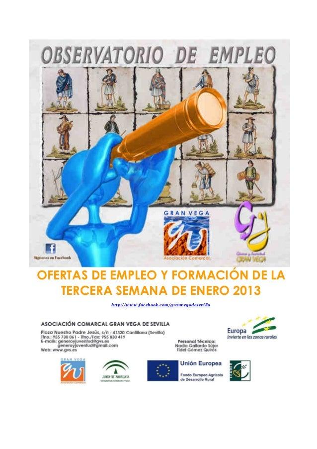 OFERTAS DE EMPLEO Y FORMACIÓN DE LA   TERCERA SEMANA DE ENERO 2013          http://www.facebook.com/granvegadesevilla
