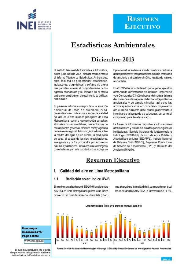 Resumen Ejecutivo Pág.1 Para mayor información ver Página Web: www.inei.gob.pe Se autoriza su reproducción total o parcial...