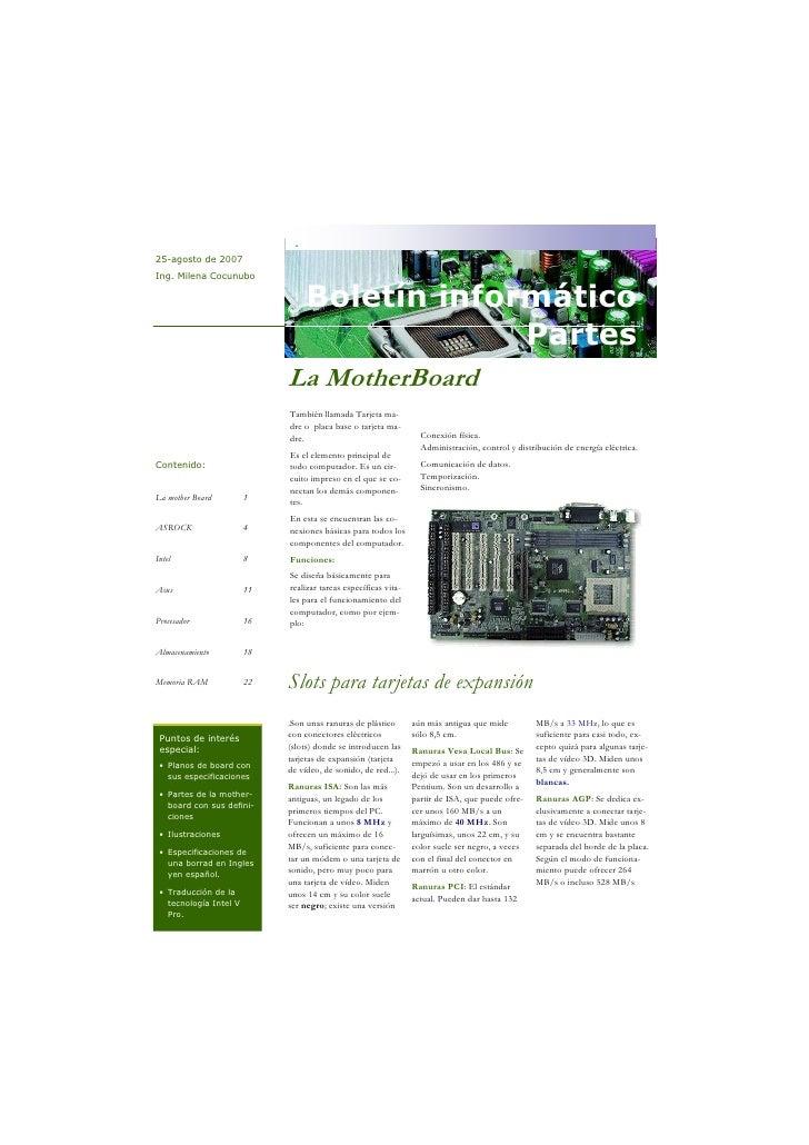 . 25-agosto de 2007 Ing. Milena Cocunubo                                     Boletín informático                          ...