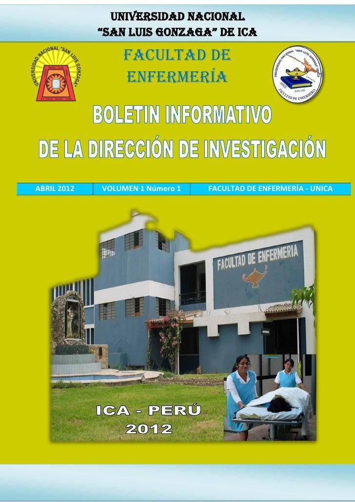 """UNIVERSIDAD NACIONAL             """"SAN LUIS GONZAGA"""" DE ICA                 FACULTAD DE                 ENFERMERÍAABRIL 201..."""
