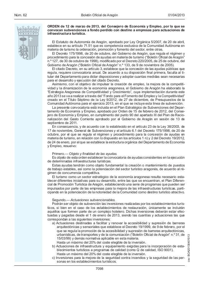 BOLETÍN OFICIAL DE ARAGÓN. SUBVENCIONES PARA ACTIVIDADES E INFRAESTRUCTURAS TURÍSTICAS
