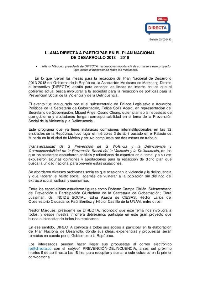 Boletín 03/030413 LLAMA DIRECTA A PARTICIPAR EN EL PLAN NACIONAL DE DESARROLLO 2013 – 2018 Néstor Márquez, presidente de D...