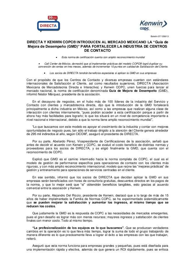 """Boletín 07/120613 DIRECTA Y KENWIN COPC® INTRODUCEN AL MERCADO MEXICANO LA """"Guía de Mejora de Desempeño (GMD)"""" PARA FORTAL..."""