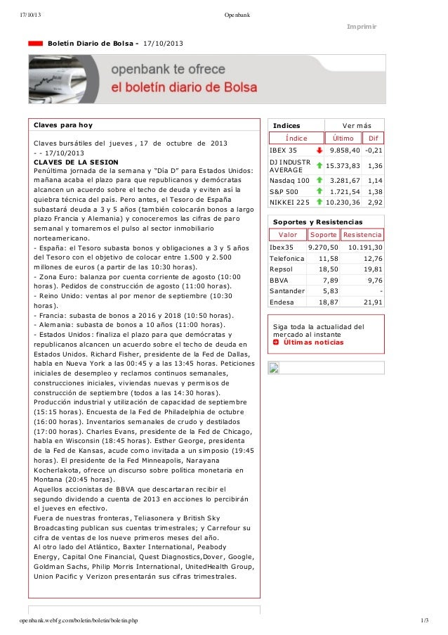 17/10/13  Openbank  Imprimir  BoletínDiariodeBolsa17/10/2013  Clavesparahoy Clavesbursátilesdeljueves,17...