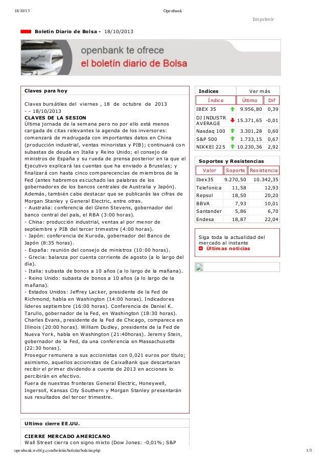 18/10/13  Openbank  Imprimir  BoletínDiariodeBolsa18/10/2013  Clavesparahoy Clavesbursátilesdelviernes,18...