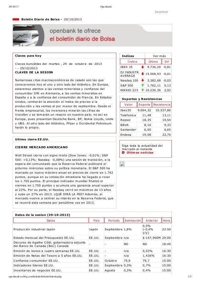 29/10/13  Openbank  Imprimir  BoletínDiariodeBolsa29/10/2013  Clavesparahoy  Indices  Vermás  Índice  Clavesb...