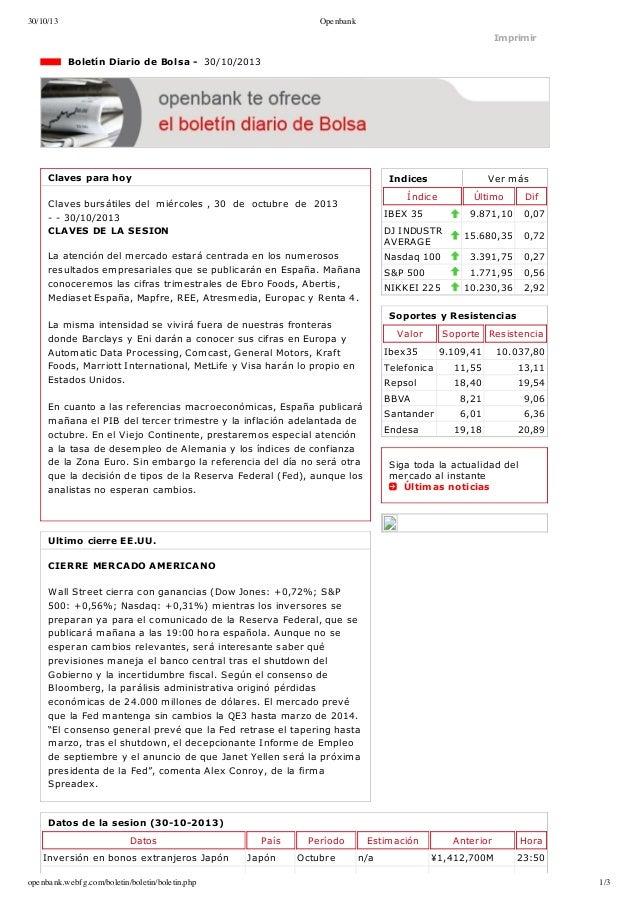 30/10/13  Openbank  Imprimir  BoletínDiariodeBolsa30/10/2013  Clavesparahoy  Indices  Vermás  Índice  Clavesb...