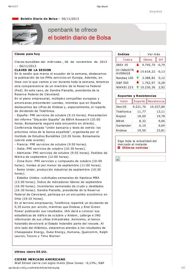 06/11/13  Openbank  Imprimir  BoletínDiariodeBolsa06/11/2013  Clavesparahoy Clavesbursátilesdelmiércoles,...