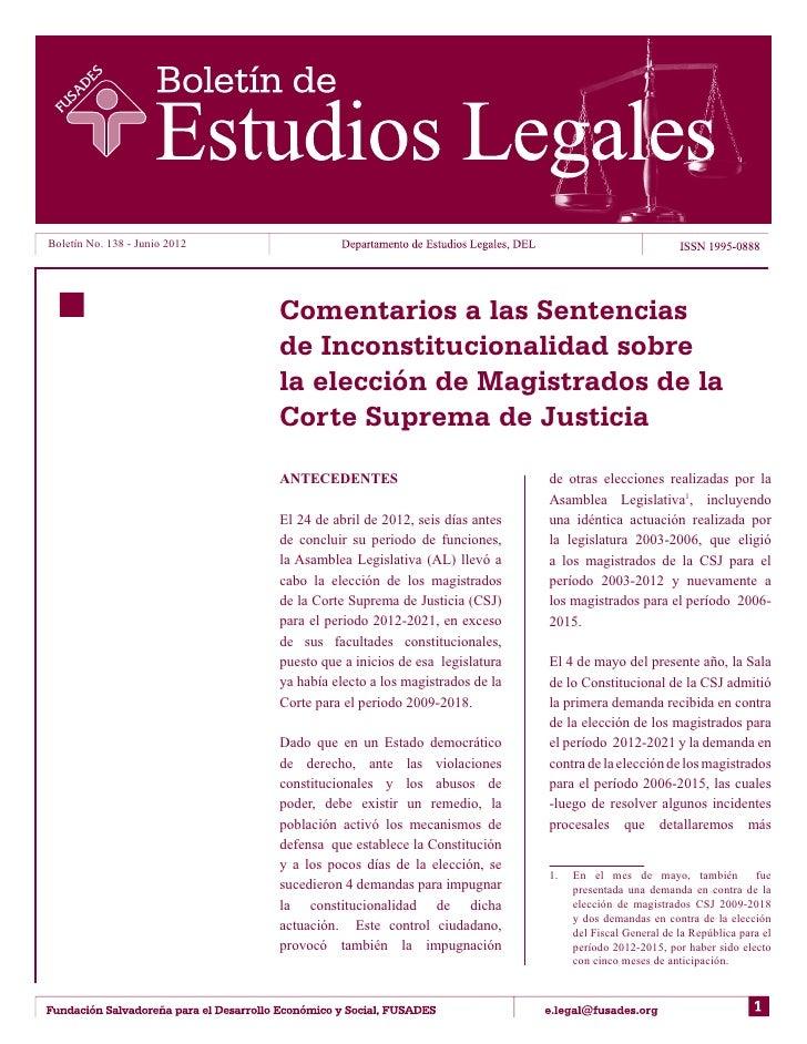 Comentarios a las Sentencias de Inconstitucionalidad sobre la elección de Magistrados de la Corte Suprema de Justicia