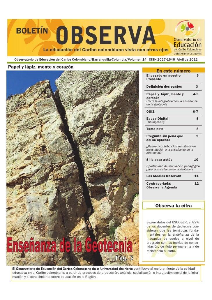 Observatorio de Educación del Caribe Colombiano/Barranquilla-Colombia/Volumen 14 ISSN 2027-1646 Abril de 2012Papel y lápiz...