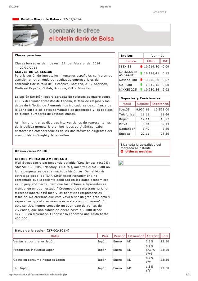 27/2/2014  Openbank  Imprimir  BoletínDiariodeBolsa27/02/2014  Clavesparahoy  Indices  Clavesbursátilesdelj...