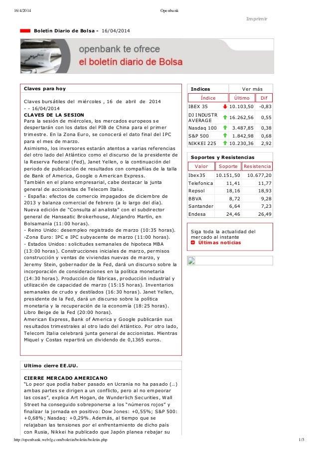 16/4/2014 Openbank http://openbank.webfg.com/boletin/boletin/boletin.php 1/3 Indices Vermás Índice Último Dif IBEX35 10....