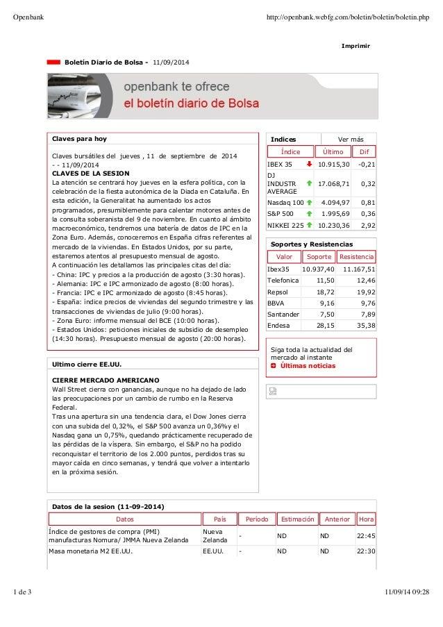 Openbank http://openbank.webfg.com/boletin/boletin/boletin.php  Imprimir  Indices Ver más  Índice Último Dif  IBEX 35 10.9...