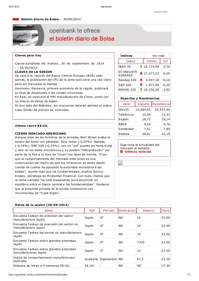 30/9/2014 Openbank  Imprimir  Indices Ver más  Índice Último Dif  IBEX 35 10.724,90 0,36  DJ INDUSTR  AVERAGE 17.071,22 0...