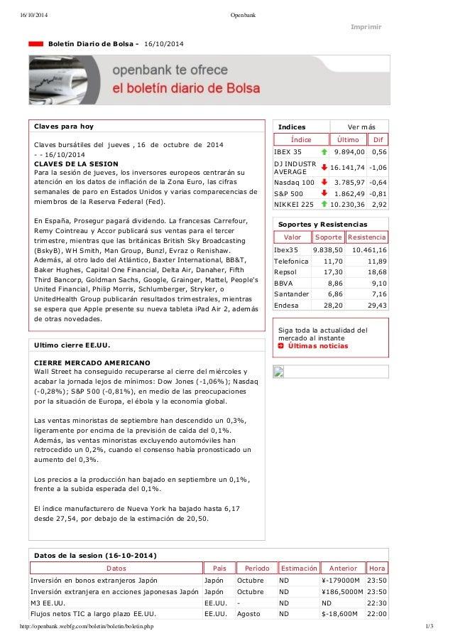 16/10/2014 Openbank  Imprimir  Indices Ver más  Índice Último Dif  IBEX 35 9.894,00 0,56  DJ INDUSTR  AVERAGE 16.141,74 1...