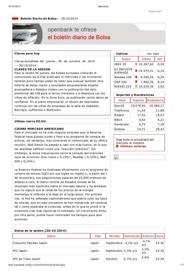 30/10/2014 Openbank  Imprimir  Indices Ver más  Índice Último Dif  IBEX 35 10.287,60 0,39  DJ INDUSTR  AVERAGE 16.974,31 ...