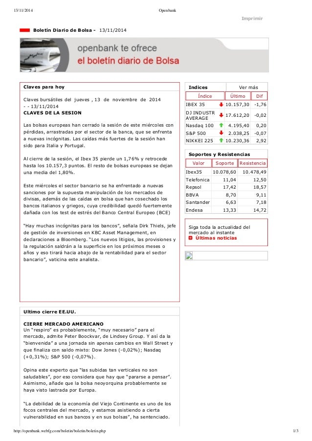 13/11/2014 Openbank  Imprimir  Indices Ver más  Índice Último Dif  IBEX 35 10.157,30 1,76  DJ INDUSTR  AVERAGE 17.612,20 ...