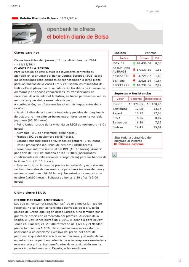 11/12/2014 Openbank  Imprimir  Indices Ver más  Índice Último Dif  IBEX 35 10.436,30 0,38  DJ INDUSTR  AVERAGE 17.533,15 ...