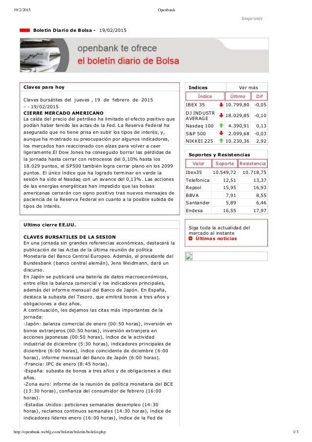 19/2/2015 Openbank http://openbank.webfg.com/boletin/boletin/boletin.php 1/3 Indices Vermás Índice Último Dif IBEX35 10....