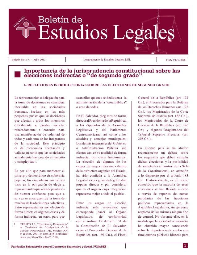 """Importancia de la jurisprudencia constitucional sobre las elecciones indirectas o """"de segundo grado"""""""
